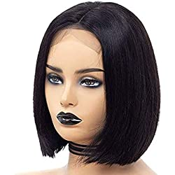 ATZHAIR 4x4 Lace Front Wigs Brazilian Remy Human Hair Wig Straight Short Bob Wig Pre Plucked with Baby Hair for African American Women Natural Color(12 inch with 150% Density)