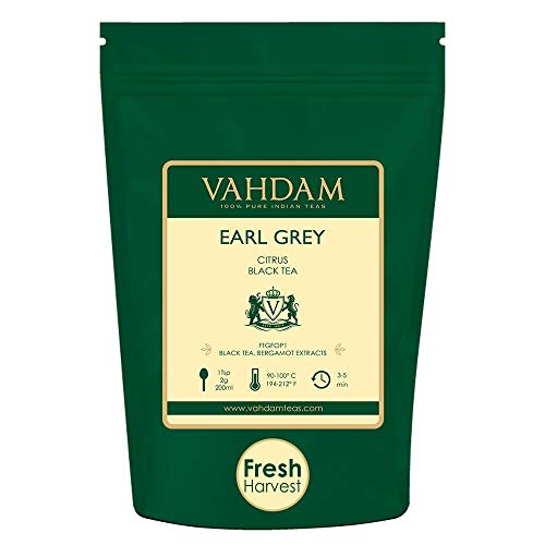 VAHDAM, Earl Grey Tea Leaves (200+ Cups) CITRUSY & DELICIOUS - Brew Iced Tea or Hot Tea, Black Tea blended with 100% Natural Oil of Bergamot, NATURAL SOURCE OF ANTI-OXIDANTS, 16-ounce Bag ()