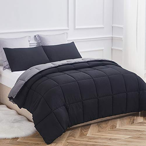 (Decroom Lightweight Comforter Set, Down Alternative Quilted Duvet Insert,Moisture-Wicking Treament, Soft and Hypoallergenic for All Season Reversible Comforter, Black/Grey, Full/Queen )