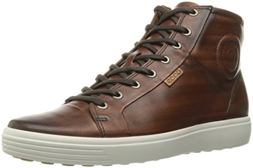 ECCO Men's Soft 7 High Top Fashion Sneaker, Whisky Premium Leather, 43 EU/9-9.5 M US