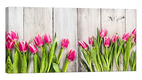 LightFairy Wall Art for Living Room - Glow in The Dark Canvas Painting - Stretched and Framed Giclee Print - Pink Tulips White Wooden Wall - Wall Decorations for Bedroom - 32 x 16 inch