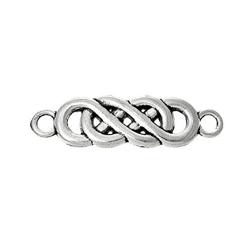 Twist Infinity Symbol Connectors Findings, Celtic Look, Antique Silver Tone 22.0mm x 6.0mm, 45 PCs
