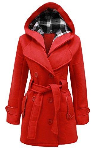avec capuche boutonnage ceinture hiver COUTURE cexi FEMMES femmes double veste polaire Rouge manteau HSqafO