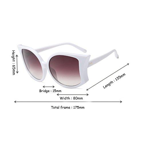 de sol Yefree mujeres de de de manera mujeres las de Gris UV400 Blanco grandes sol de las las gafas de Gafas la verano fIPqIC