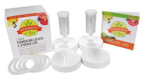 Ferment N' Joy Fermentation Lids with Airlocks: Fit Wide Mouth Mason Jars