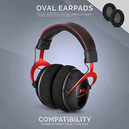 BRAINWAVZ Micro Suede Ear Pads for ATH M50X, M50XBT, M40X, HyperX, SHURE, Turtle Beach, AKG, ATH, Philips, JBL, Fostex Replacement Memory Foam Earpads & Fits Many Headphones (See List), Oval