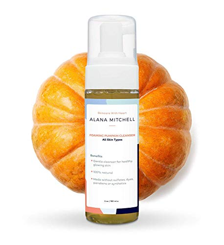 Moisturizing Foaming Pumpkin Cleanser By Alana Mitchell: Gentle Wash With Aloe Vera For All Skin Types – Healthy Skin Anti-Aging Pore Refining Face Purifier – Paraben Free, All Natural (6oz) (Moisturizing Pumpkin)