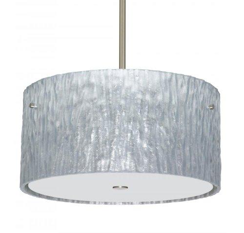 Besa Lighting 1KT-4008SS-LED-SN 3X6W Gu24 LED Tamburo 16V2 LED Pendant with Stone Silver Foil Glass, Satin Nickel Finish