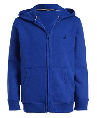 Nautica Boys' Big School Uniform Polar Fleece Zip-Up Hoodie, Royal Blue, Small(8)