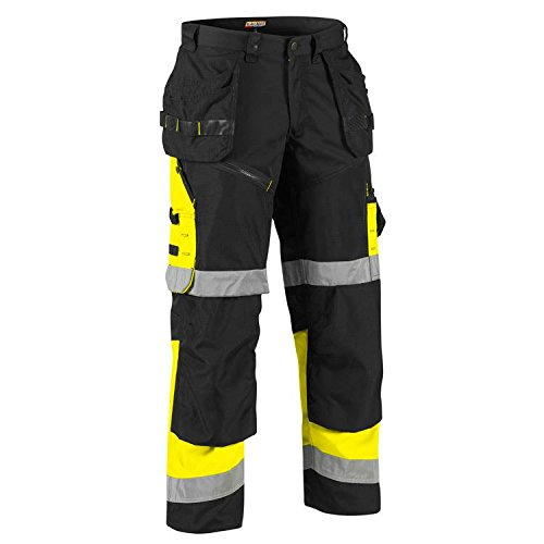 Blaklader 1608 Hi-Vis X1600 Work Pants - Black/Yellow - 36-34 Inch
