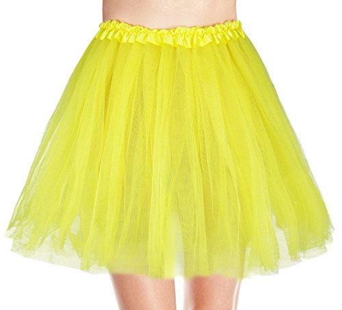 Women's, Teen, Adult Classic Elastic 3, 4, 5 Layered Tulle Tutu Skirt (One Size, Yellow (Yellow Tutu For Adults)