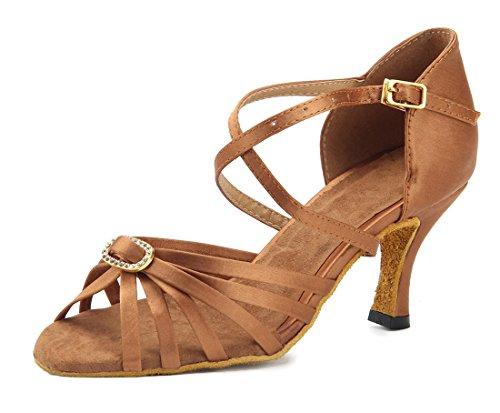 TDA Womens Ankle Strap Comfort Knot Satin Salsa Tango Ballroom Latin Modern Dance Wedding Shoes Brown-buckle
