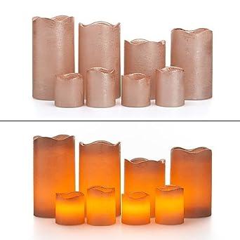 LED Kerzen mit Fernbedienung,Timer,4 Stumpenkerzen,4 Votivkerzen,Echtwachs,NEU