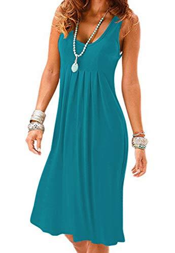 Camisunny Evening Party Homecoming Dresses Women Crew Neck Sleeveless Tunic Dress Size L ()