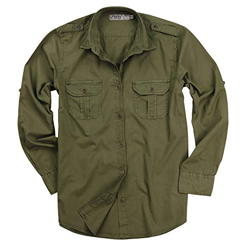 Women's Classic Long Sleeve Military Style Shirt (Military Olive Green, X-Large)