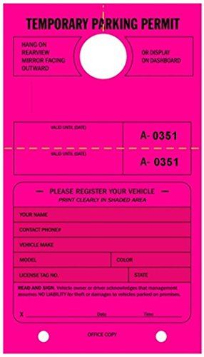 Temporary Parking Permit - Mirror Hang Tags, Numbered with Tear-Off Stub, 7-3/4'' x 4-1/4'', Bright Fluorescent Pink - Pack of 50 Tags (0351-0400) by Linco