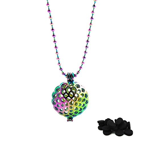 Round Beads Pearl Cage Pendant Necklace Rainbow Scent Diffuser Locket For Necklaces Bracelets DIY Holder Jewelry -