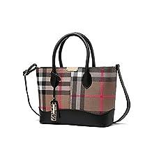 Fashion Womens Designer Stylish Scotland Grid Top-Handle Handbag Tote Shoulder Bag