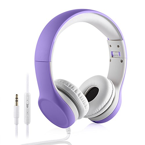Kids Headphones Volume Limited , Over The Ear Foldable Headphones with Share Connector for Boys Girls Children (Purple)]()