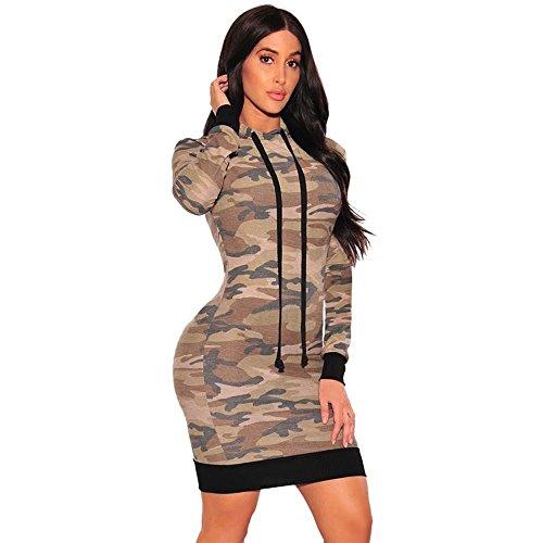 Women's Camo Hoodie Long Sleeve Mini Bodycon Dress Fashion Casual Sweatshirt Pullover Sweater Dress Top Blouse