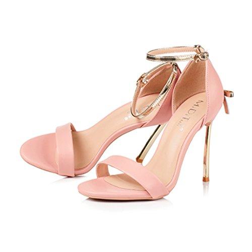 cm Sandalias Tacón Mujer Fina Alto 8 Pink Cinta qqYPvfz