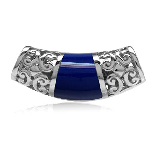 Created Lapis Inlay White Gold Plated 925 Sterling Silver Filigree Slide Pendant (Silver Slide Pendant)