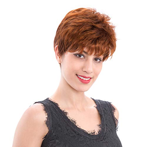 XPRETTY WIGS Women Short Curly Red Brown Hair Wigs Synthetic Heat Resistant Frizzy Wig with Bangs Natural as Real Hair for Daily Use or Costume Party -