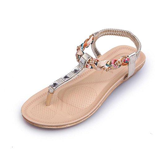 Hunpta Frauen flache Schuhe Perlen Böhmen Freizeit Sandalen Peep-Toe Flip  Flops Schuhe Gold