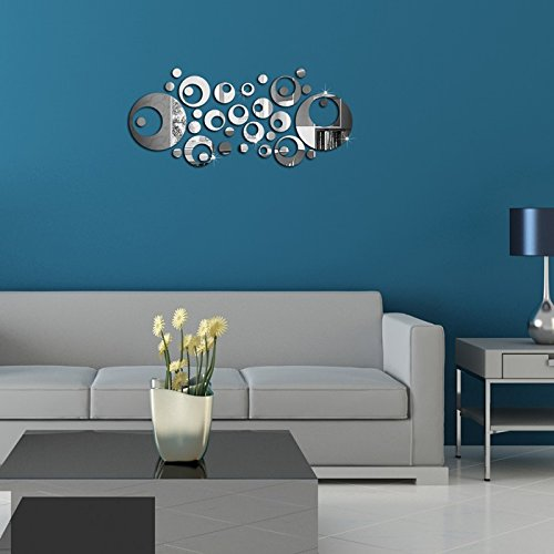 Alrens(TM)Silver 33Pcs Rounds Circles Luxury Mirror Effective Decals DIY 3D Acrylic Wall Sticker Removable Home Decoration Living Room Bedroom adesivo de parede Mural Decal by Alrens (Image #2)