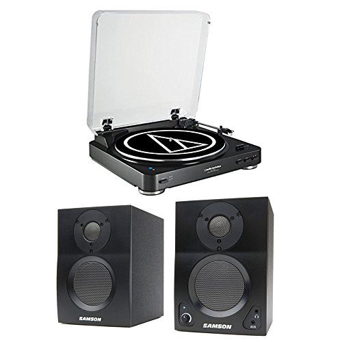 Audio-Technica AT-LP60BK-BT Bluetooth Automatic Turntable (Black) w/ Samson BT3 Active 2-way Bluetooth Monitors by Audio-Technica