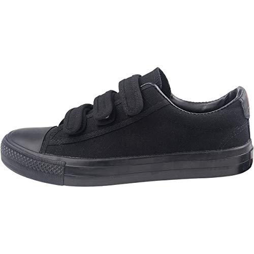 Velcro Mujer Las Casuales Mujeres Zapatos Sneakers Negro top Wealsex Lona Todo Low De wx6FBvq0