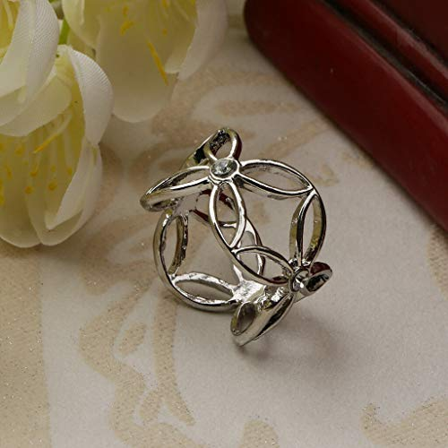 Japan China Silver Wreath - Women Scarf Ring Clip Buckle Scarf Clip Flower Buckle Holder Scarf Jewelry | Color - Silver
