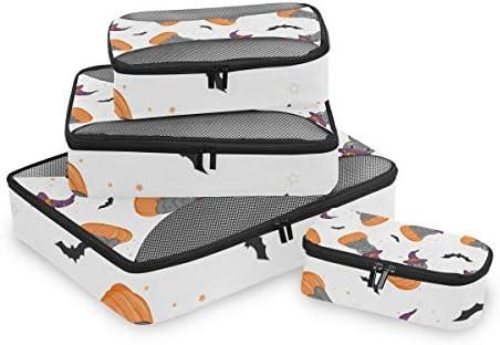 ハロウィン猫バットカボチャ荷物パッキングキューブオーガナイザートイレタリーランドリーストレージバッグポーチパックキューブ4さまざまなサイズセットトラベルキッズレディース