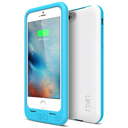 iPhone 6S Battery Case, iPhone 6 Battery Case [Ultra Thin 12.9mm] - UNU DX-Free iPhone 6 Battery Case 4.7 inch [White/Blue] - MFI Apple Certified 2400mAh External Protective Portable Charger Case
