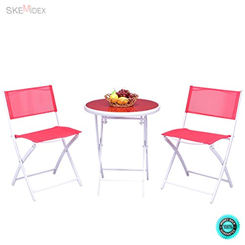 SKEMiDEX 3 PCS Folding Bistro Table Chairs Set Garden Backyard Patio Furniture Red New It enjoyable to have breakfast or afternoon tea in the garden or other outside space with this comfortable by SKEMiDEX