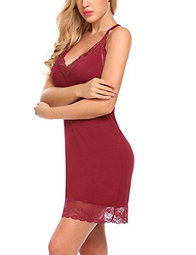 Camicia Rosso Maniche Abbigliamento da da Sexy Notte Notte XXL Abito Sexy a V Donna Scuro Senza Notte Scollo da S zCwxqrz8U