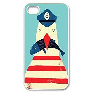 [Funny Animal Penguin] ship captain & fish the coastal agrarian For Apple Iphone 5C Case Cover {White}