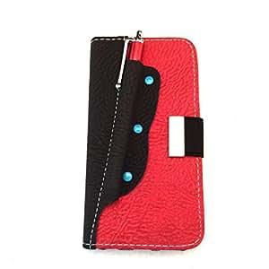Funda libro Samsung Galaxy Trend 2 (G313) con lápiz táctil color Negro y rojo con tarjetero, Carcasa con tapa y Ranura para Tarjeta, funda de TPU de alta resistencia y flexibilidad. Diseño exclusivo de Diilihiiri.