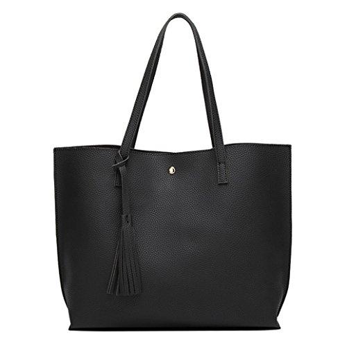 Women's Shoulder Tote Black Korean Large Capacity Fashion Handbag Style Bag 7Ywng5qxaO
