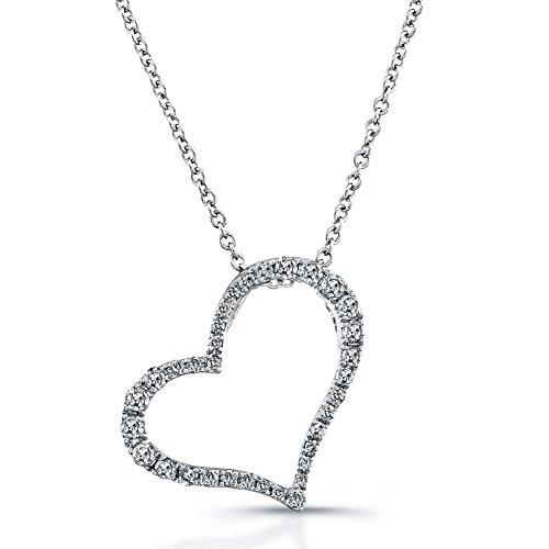 Victoria Kay 1/4ct TDW White Diamond Heart Pendant set in Sterling Silver (J-K, (Floating Diamond Heart Bracelet)