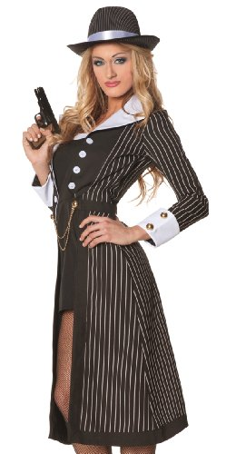 Boss Costumes Women (Boss Lady Mobster Pinstriped Dress Costume Adult Medium)
