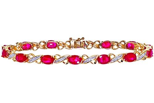 Naava - Bracelet - Femme - Or jaune (9 carats) 7 Gr - Diamant - Rubis 8.38 Cts