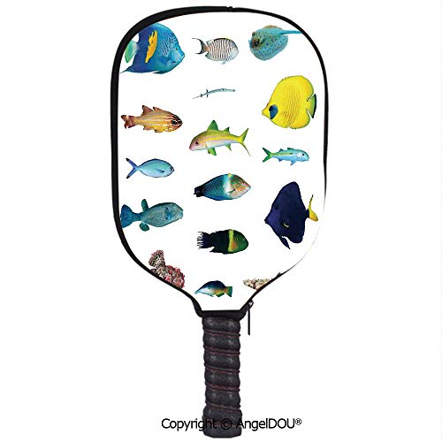 AngelDOU Ocean Animal Decor Soft Neoprene Pickleball Paddle Racket Cover Case Marine Life Creatures with Cardinalfish Clownfish Stingray Fauna Sea Theme Fit for Most Rackets.Multi