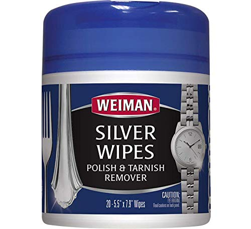 Weiman Silver Wipes - Jewelry Wipes - Cleaner and Polisher for Silver Jewelry Sterling Silver Silver Plate and Fine Antique Silver - 20 Count