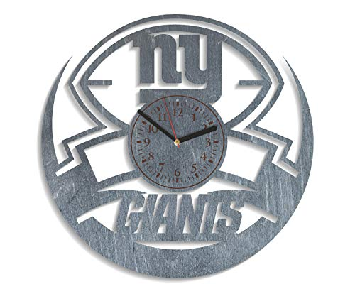 NadezhdaShop New York Giants Wall Clock American Football Team Sport Art NY Giants Personalized Gift for Him New York Giants Party Decorations New York Giants Wooden Wall Clock (Black)