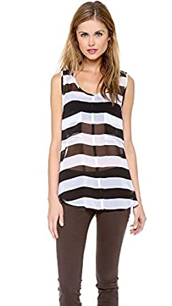 BB Dakota Women's Rudy Tank, Black/Optic White Stripe, X-Small