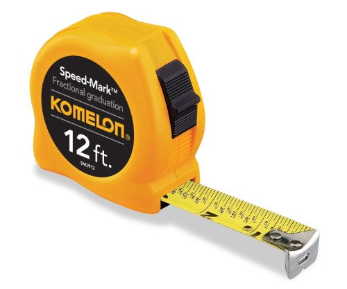 Komelon SM3912 Speed Mark Acrylic Coated Steel Blade Tape Measure 12-Inch by 5/8-Inch, Yellow ()