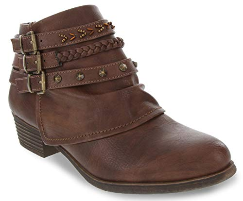 Rampage Women's Tabitha Triple Buckle Ankle Boot Ladies Side Zipper Bootie with Woven Wraparounds Studs and Overlay Chocolate Brown 9 (Boots Tall Women)