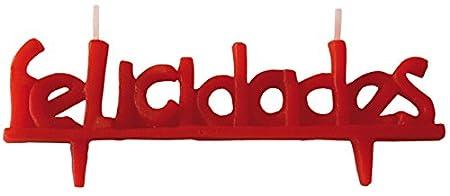Velas cumpleaños FELICIDADES-4x11,5 cm Vela de cumpleaños felicidades en Color Rojo. En Castellano y en catalán Decora Tus Pasteles de una Forma ...