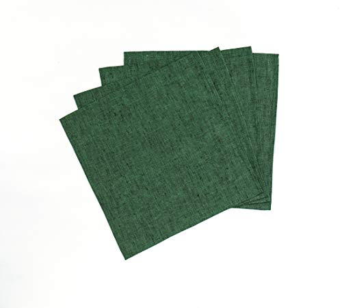 Solino Home Linen Dish Cloth - Set of 4, 12 x 12 Inch - 100% European Flax, Natural Fabric Handcrafted Machine Washable - Forest Green ()
